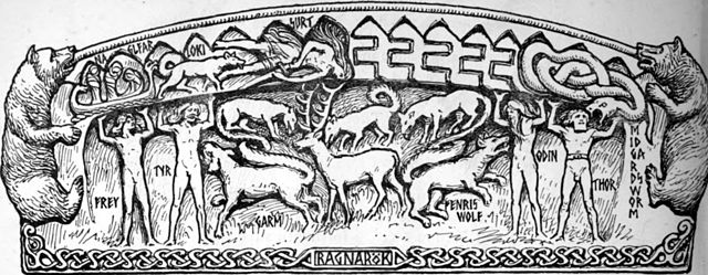 Ragnarök (motif from the Heysham hogback)    by   W.G. Collingwood, 1908.  Wikimedia Commons .