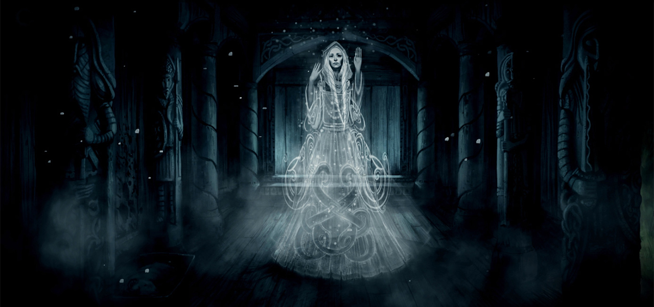 A depiction of an undead seeress (Old Norse  vǫlva )from  The Frostrune , Grimnir's current project. Image: Grimnir
