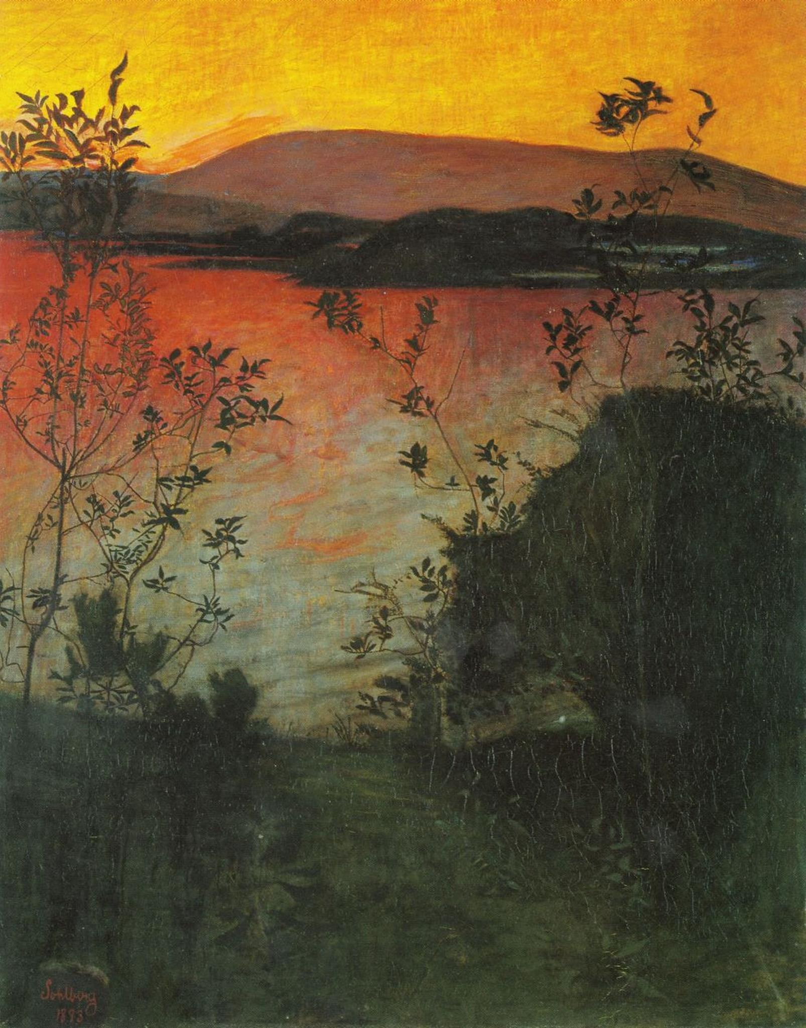 Harald Sohlberg, Natteglød  (English 'evening glow'), 1893. Oil on canvas. Hella provided this image for use with this interview.