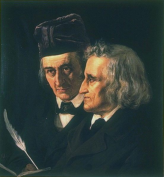 Jacob (right) and Wilhelm Grimm (left) in a portrait by Elisabeth Jerichau-Baumann, oil on canvas, 1855. Wikimedia Commons.