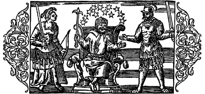 A depiction of the gods Frigg, Odin, and Thor, as influenced by contemporary fashion in Olaus Magnus's  Historia de Gentibus Septentrionalibus , published in 1555.  Wikimedia Commons .