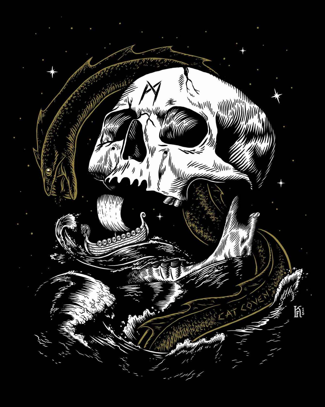 A Viking Age ship in the distance, Jǫrmungandr, the great serpent, writhes from the sea and encircles a skull bearing the rune * mannaz  in Kjersti Faret's  Migard , digital/screen print, 2015.