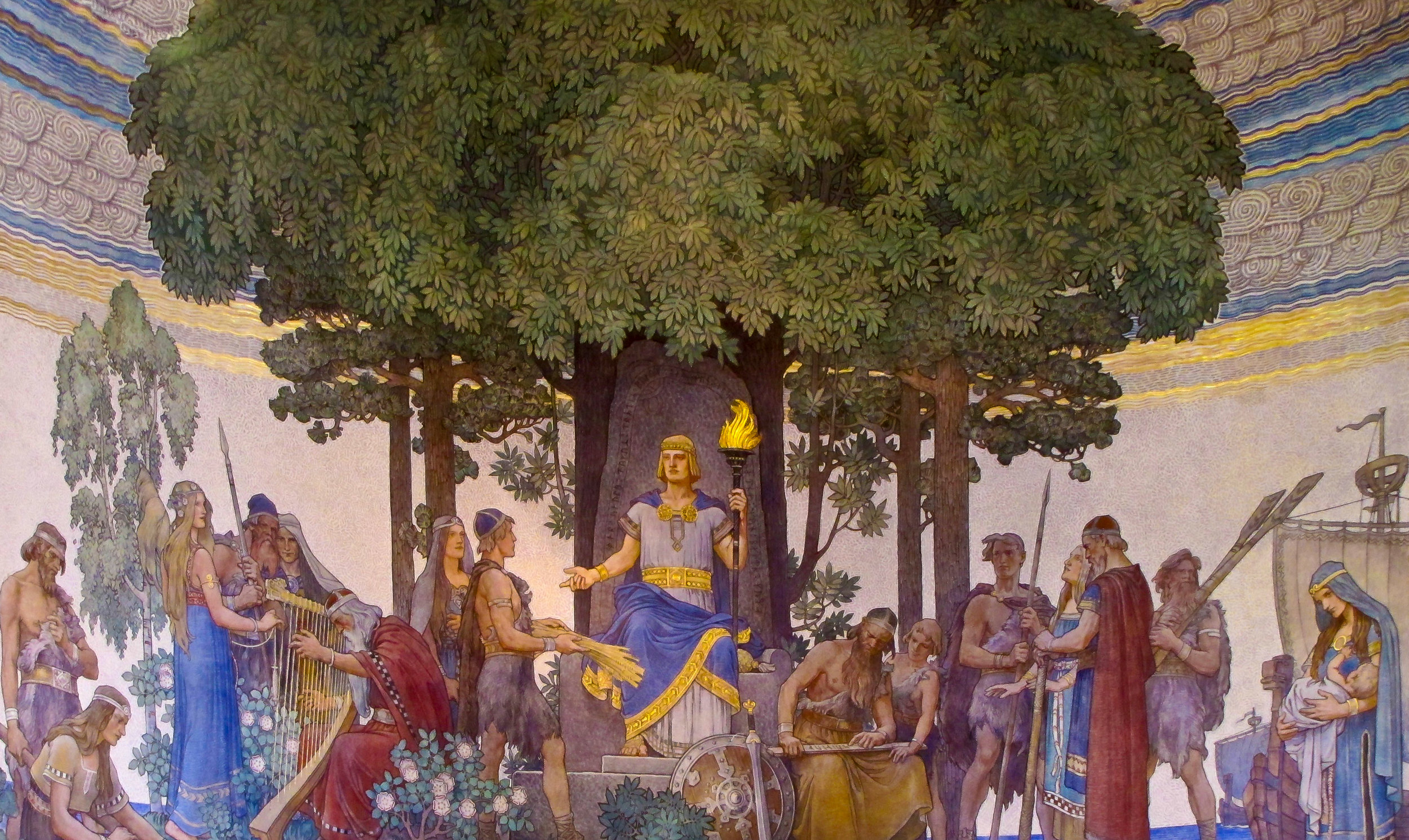 "A depiction of the god Heimdallr providing gifts to mankind by Swedish artist Nils Asplund, 1907, in a lecture hall at the University of Gothenburg. The Prose Edda contains references to a lost poem about the god, ""Heimdalargaldr"". Image source:  Wikimedia Commons"