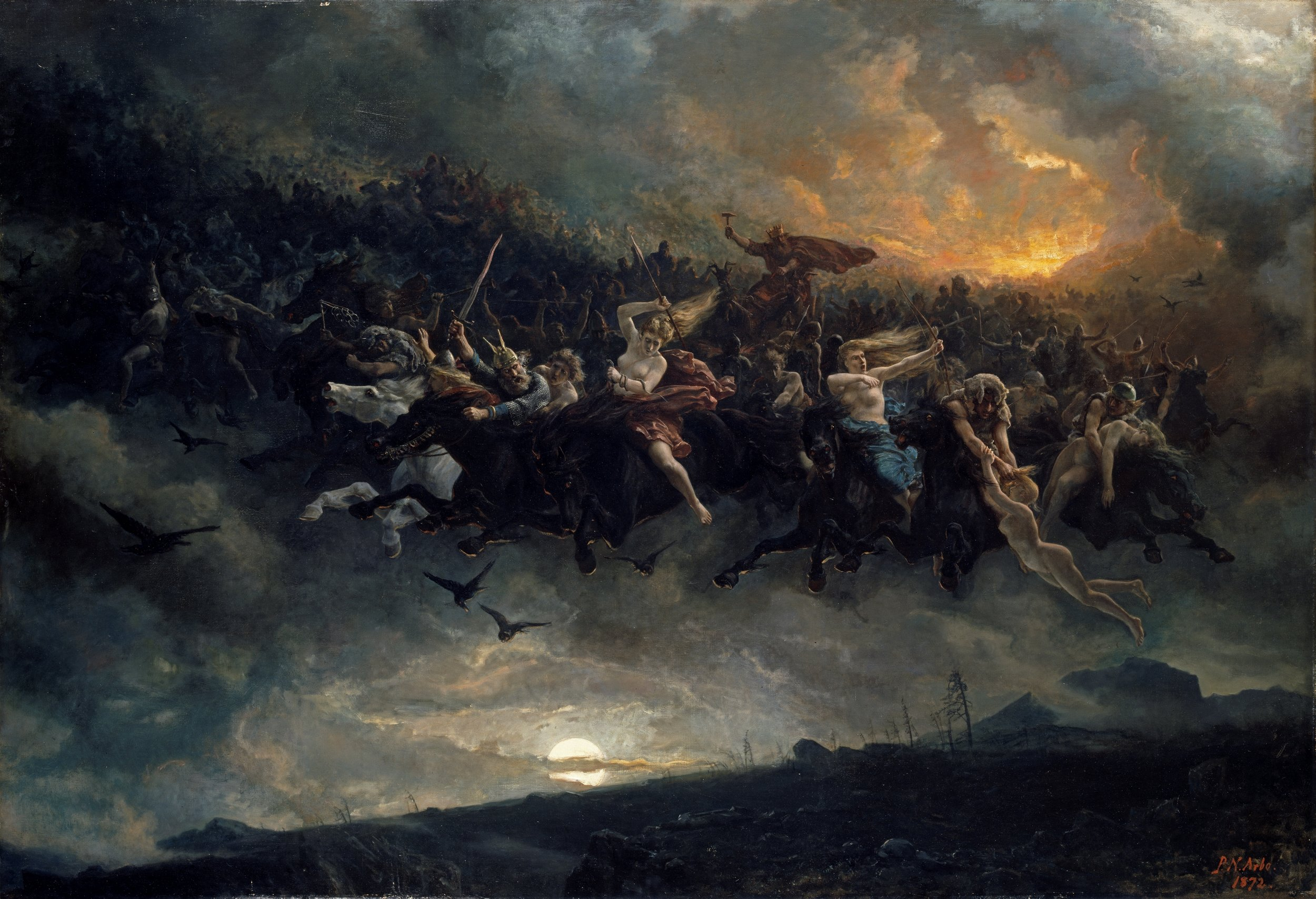 Åsgårdsreien  (often known in English as 'the wild Hunt of Odin')   by Peter Nicolai Arbo, 1872.  National Museum of Norway .