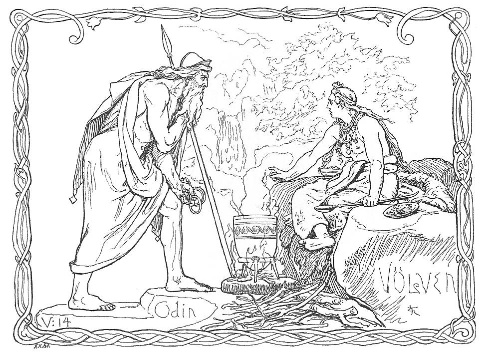 The wisdom-seeking god Odin questions a vǫlva, a precursor to the modern notion of a 'witch', in the Old Norse poem  Vǫluspá . Lorenz Frølich, 1895.  Wikimedia Commons .