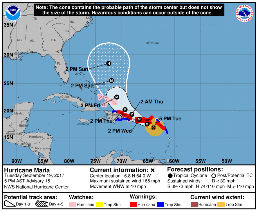 Hurricane Maria forecast from NOAA as of 5 PM AST Tuesday (2 PM PT)