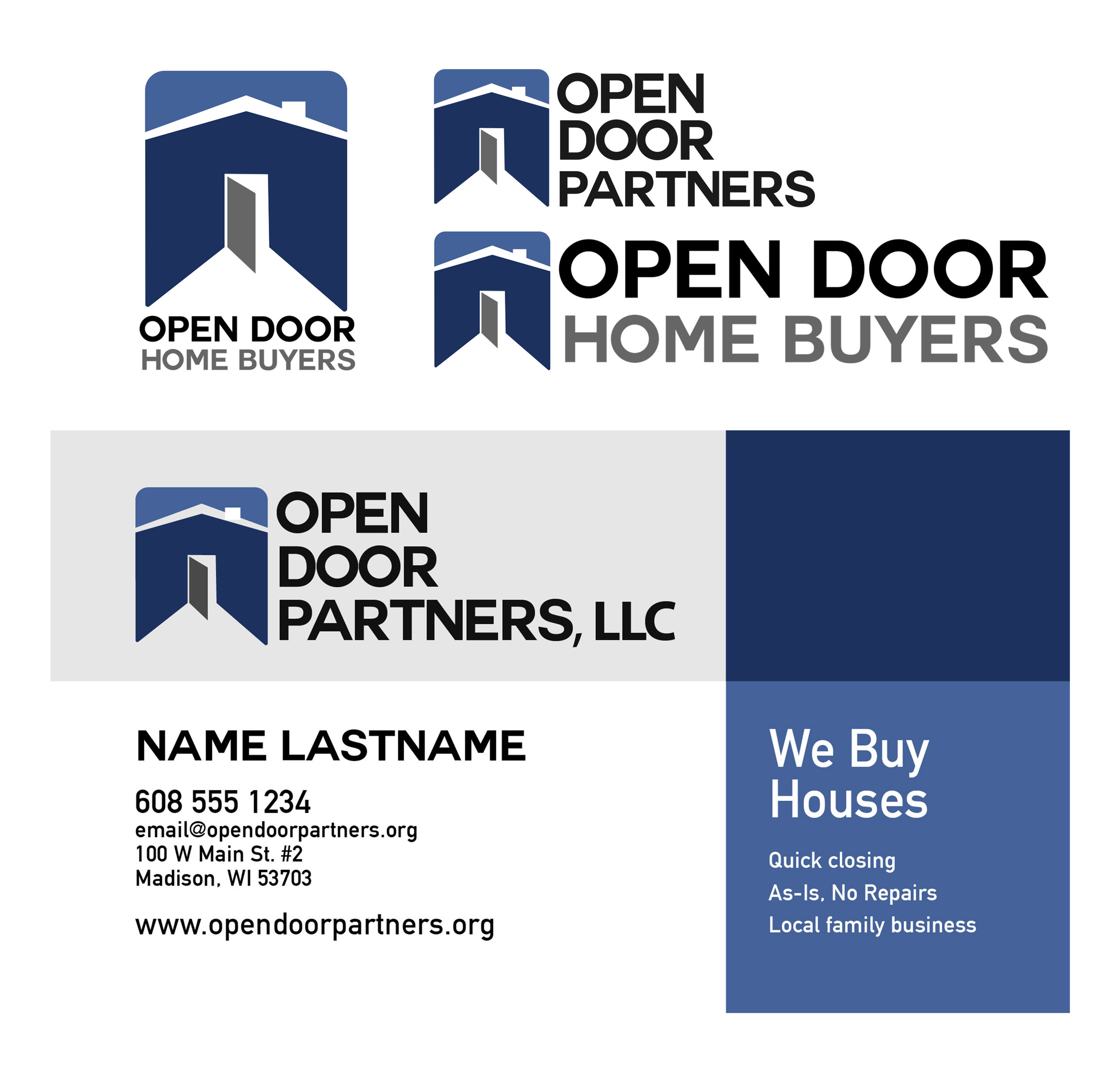 Open Door Partners - Business cards and logo design for real estate investment company