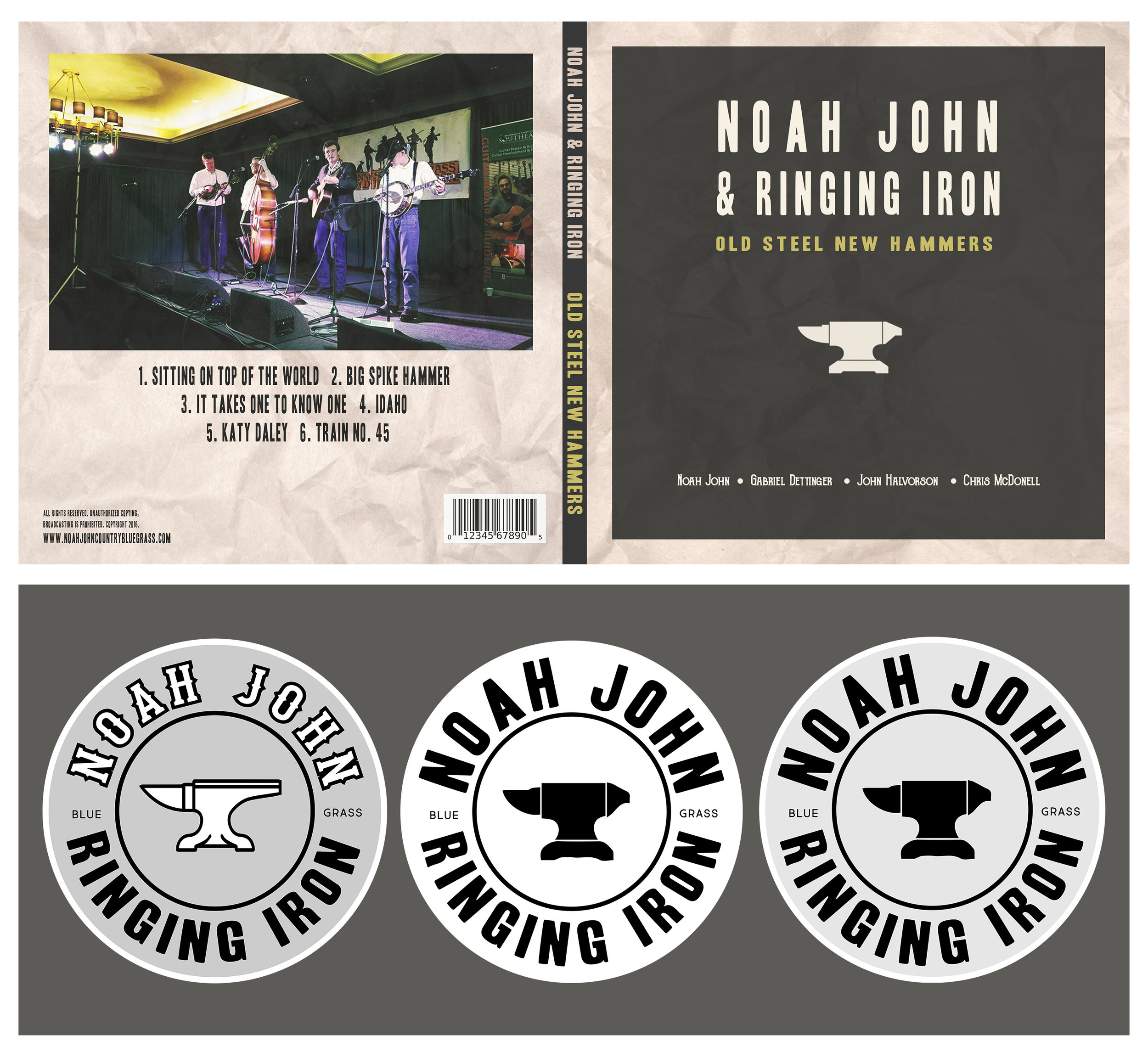 Noah John and Ringing Iron  - Album artwork design and stickers for a local Bluegrass band.