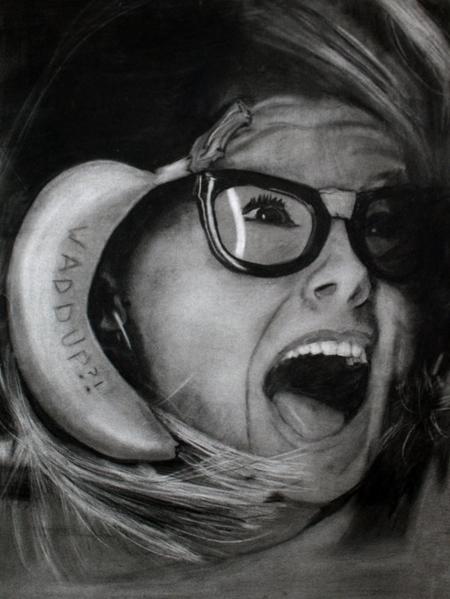"""Banana Phone"" – Charcoal Self Portrait (2010)"
