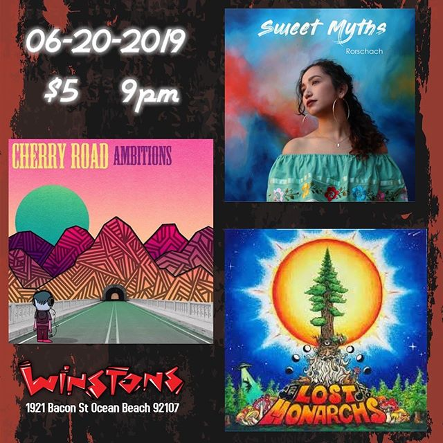 Tonight's gonna be some 🔥🔥🔥 at @winstonsob! @sweetmyths and @lostmonarchs are both monsters and we can't wait to share OB with them #sandiegomusic