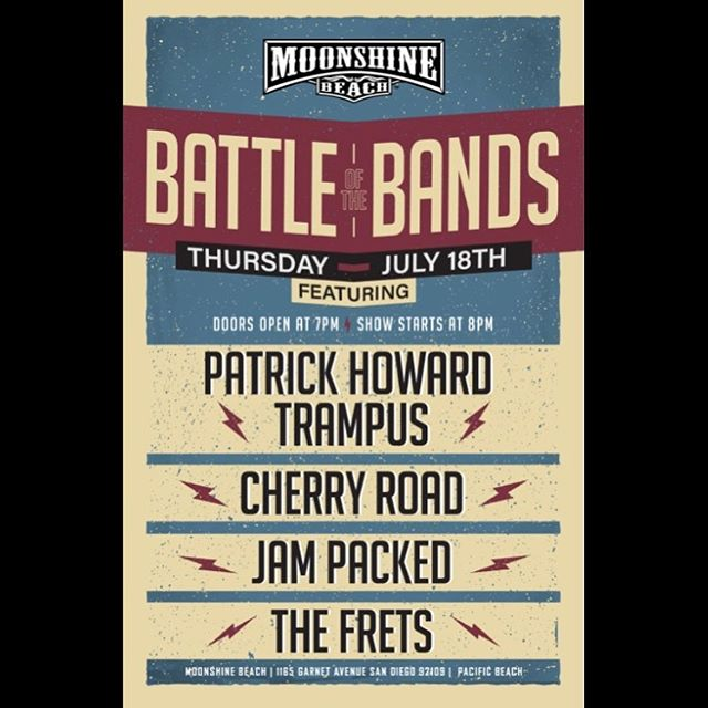 "Ooooooweee we gots ourselves a banger! We're ""battling"" (more like oogling over) some of San Diego's top acts at @moonshinebeach. @patrickhowardtrampusband, @jampacked_band, and @the.frets will be rockin out with us on Thursday night!"