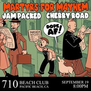 Ruckus party this Thursday evening at @710beachclub with @martyrsformayhem and @jampacked_band!! Music starts at 9 after a few chuckles.