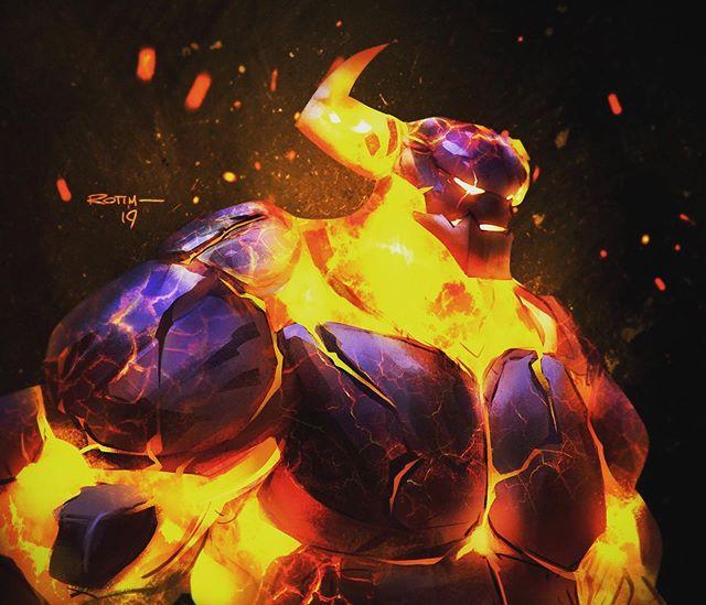 Fire elemental concept - Cinder. #sketch #timfangon #timfangonart #artstuff #conceptart #concept #painting #golem #fantasy #illustration #gameart #firedemon #demon