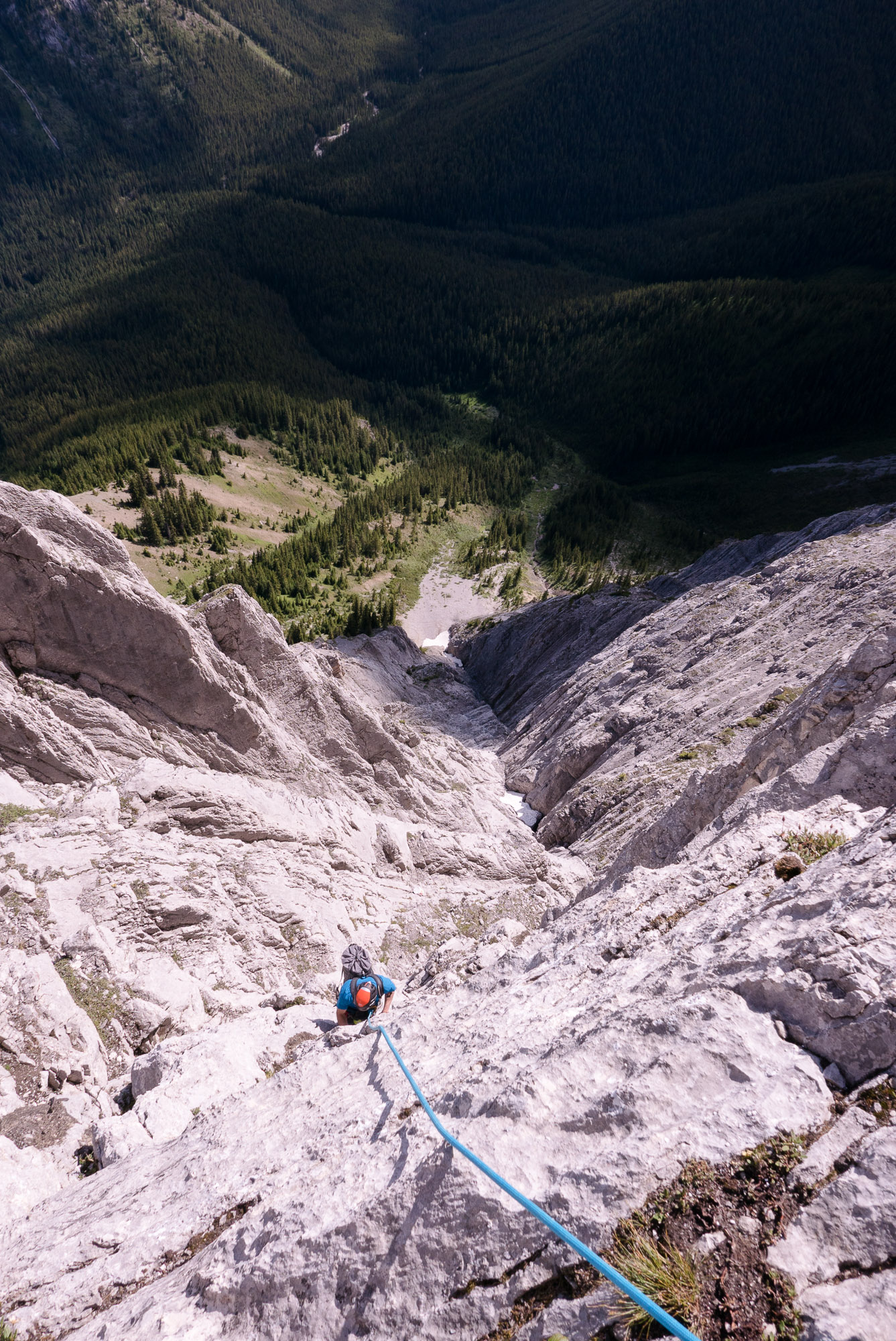 Mike following the last bit of climbing before the Diamond headwall.