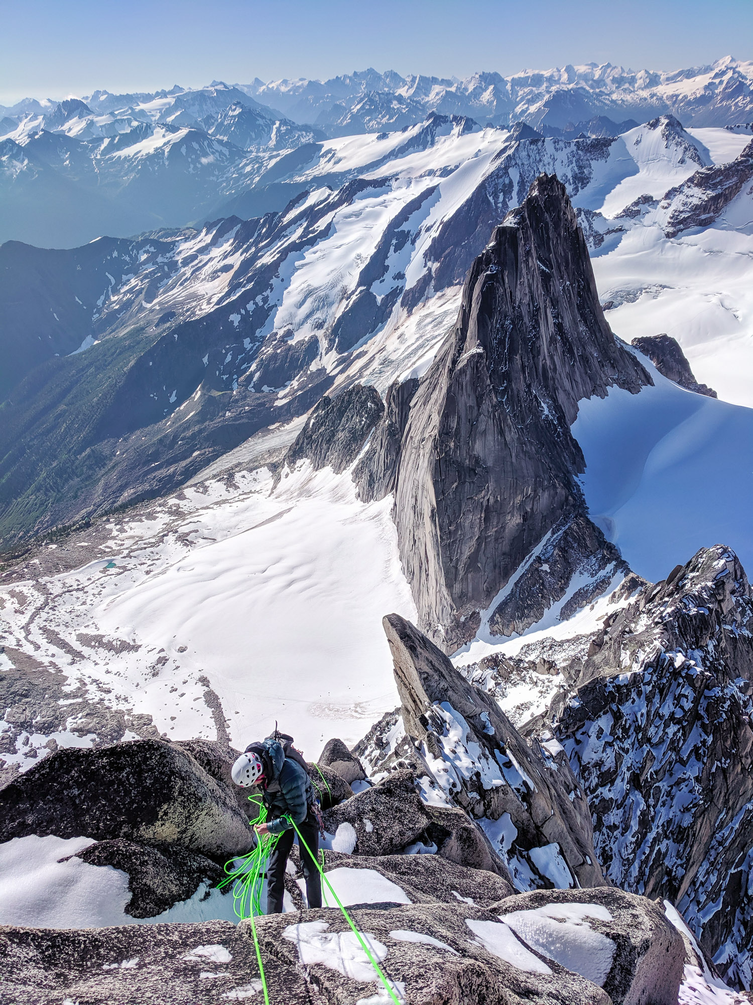 Me rappelling from the summit of Bugaboo Spire