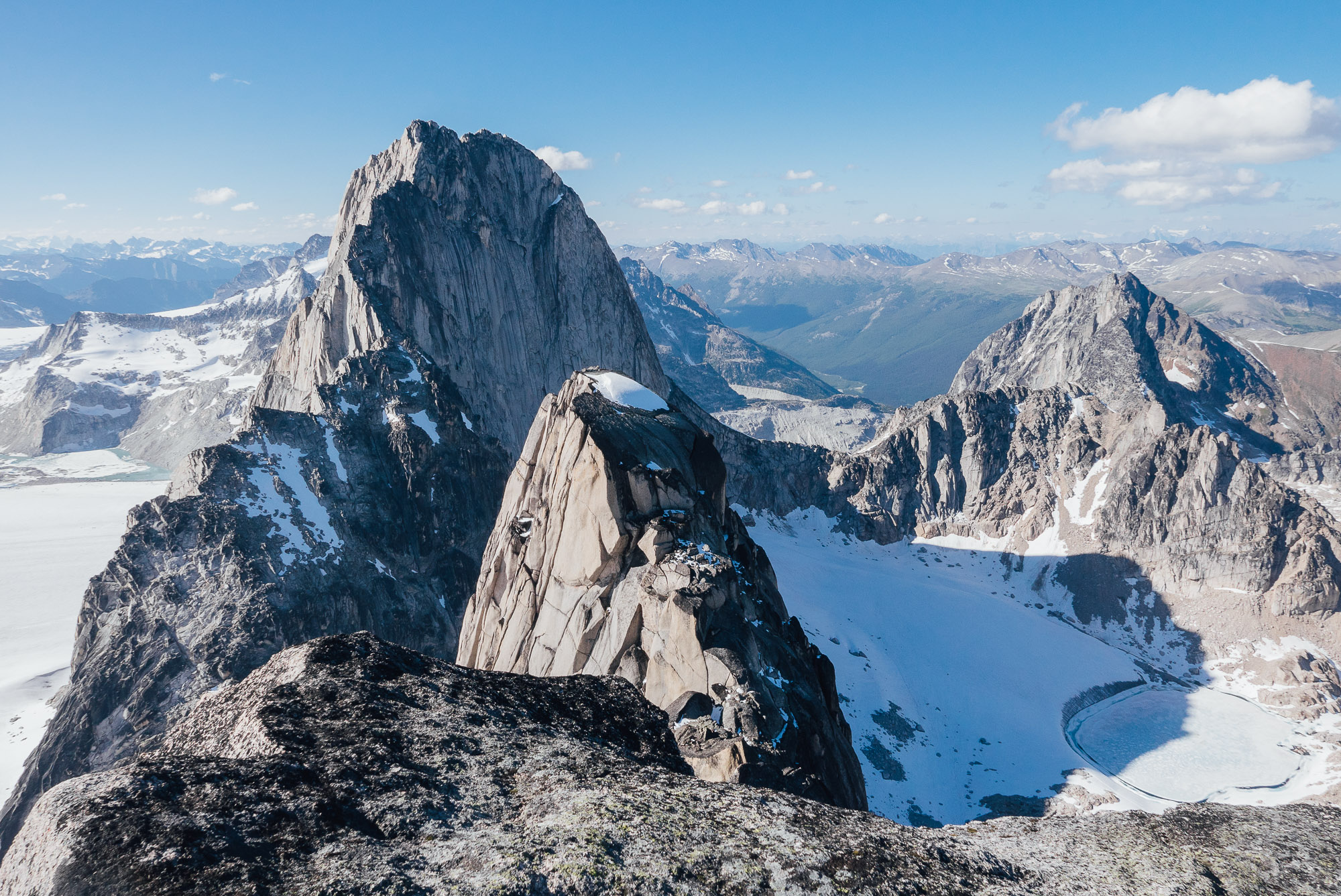 Looking from the summit of Snowpatch over at Bugaboo Spire