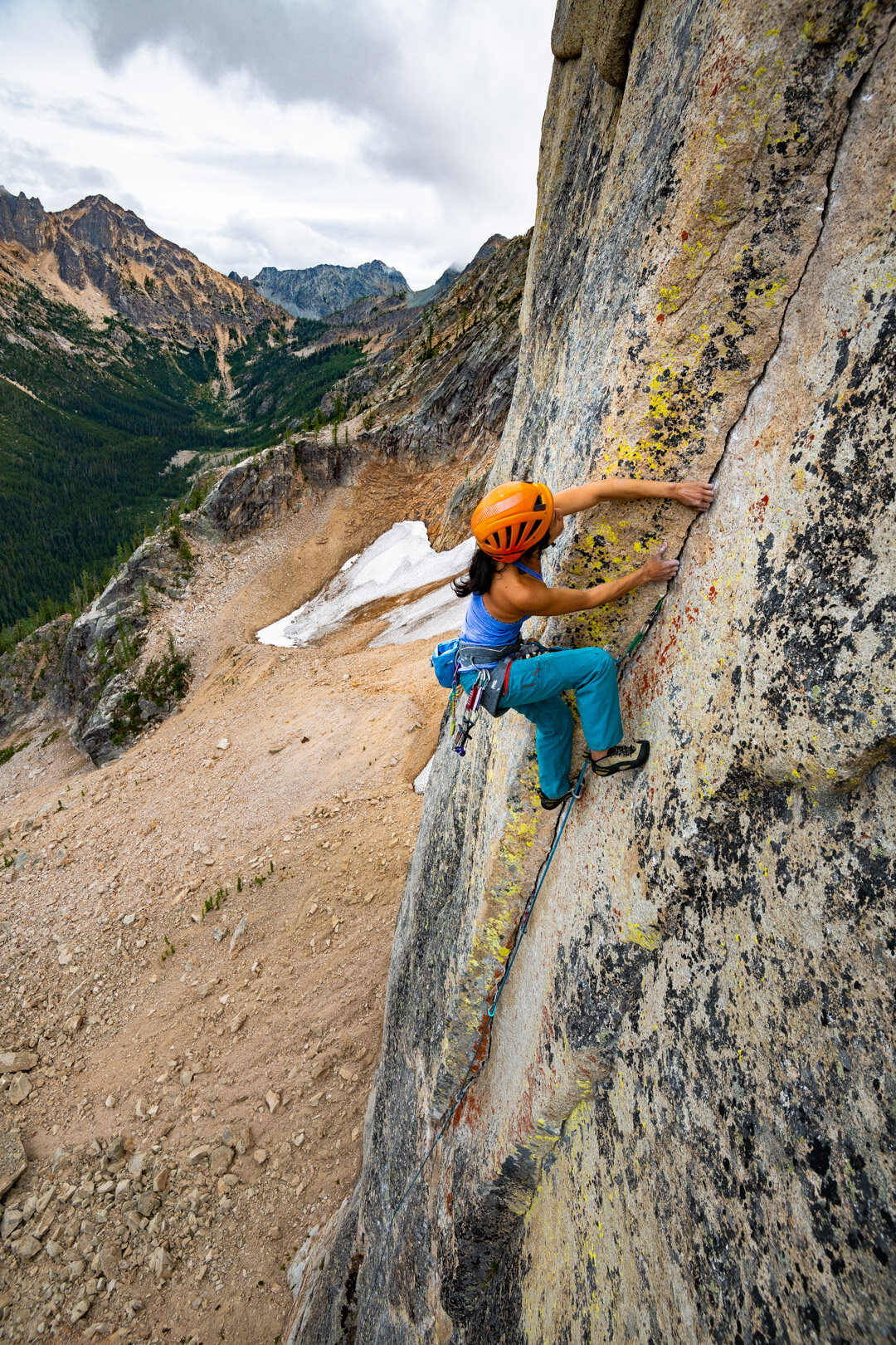 SJ on the crux pitch. Photo Austin Siadak.