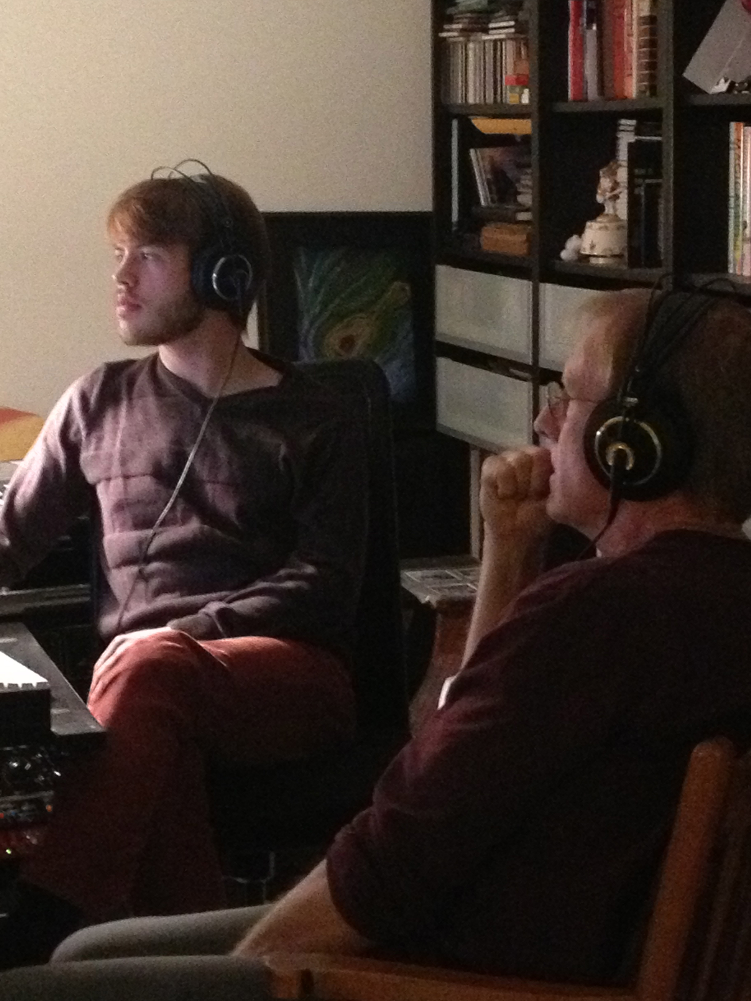 Dave and Rick checking mixes