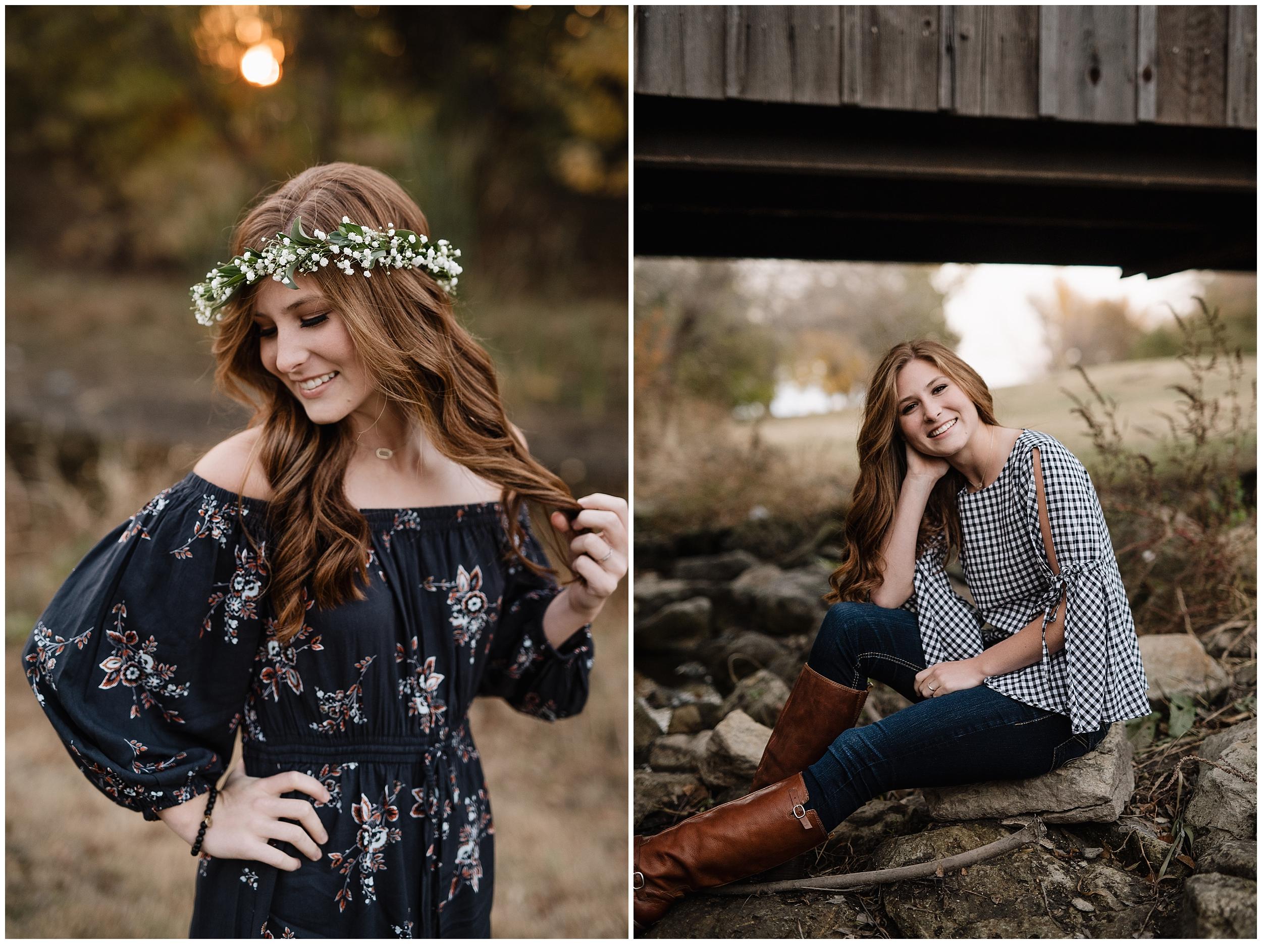 oklahoma wedding photographer portrait senior high school outdoor beautiful nature wichita kansas flower crown