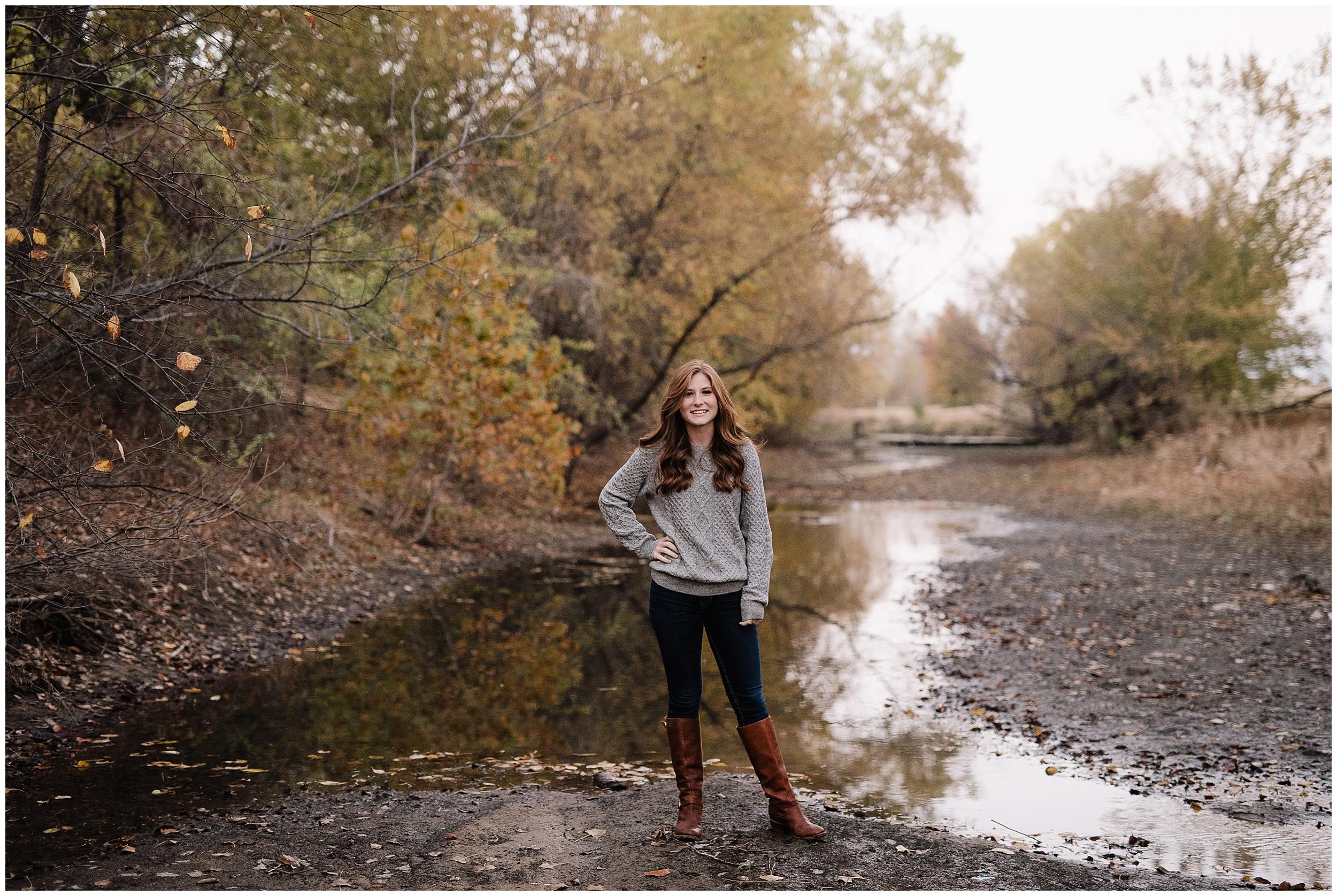 oklahoma wedding photographer portrait senior high school outdoor beautiful nature wichita kansas river stream water