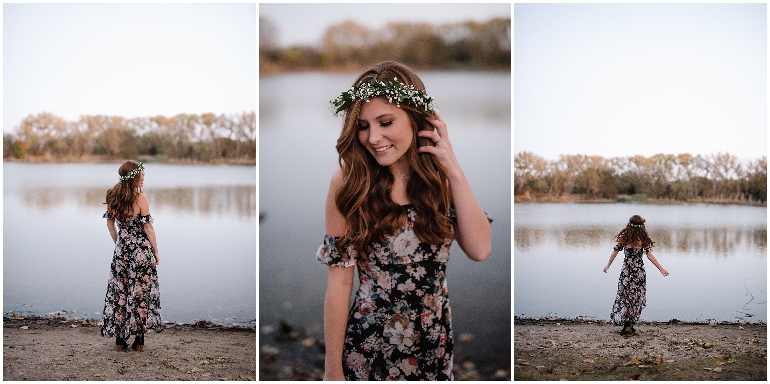 oklahoma wedding photographer portrait senior high school outdoor beautiful nature wichita kansas water lake flower crown