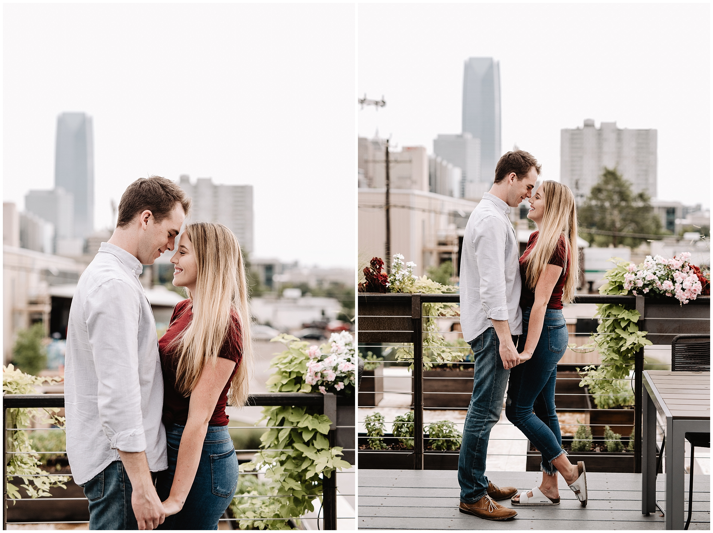 oklahoma wedding photographer date night engagement ice cream kaisers halls pizza kitchen fun shoot midtown okc  casual downtown skyline
