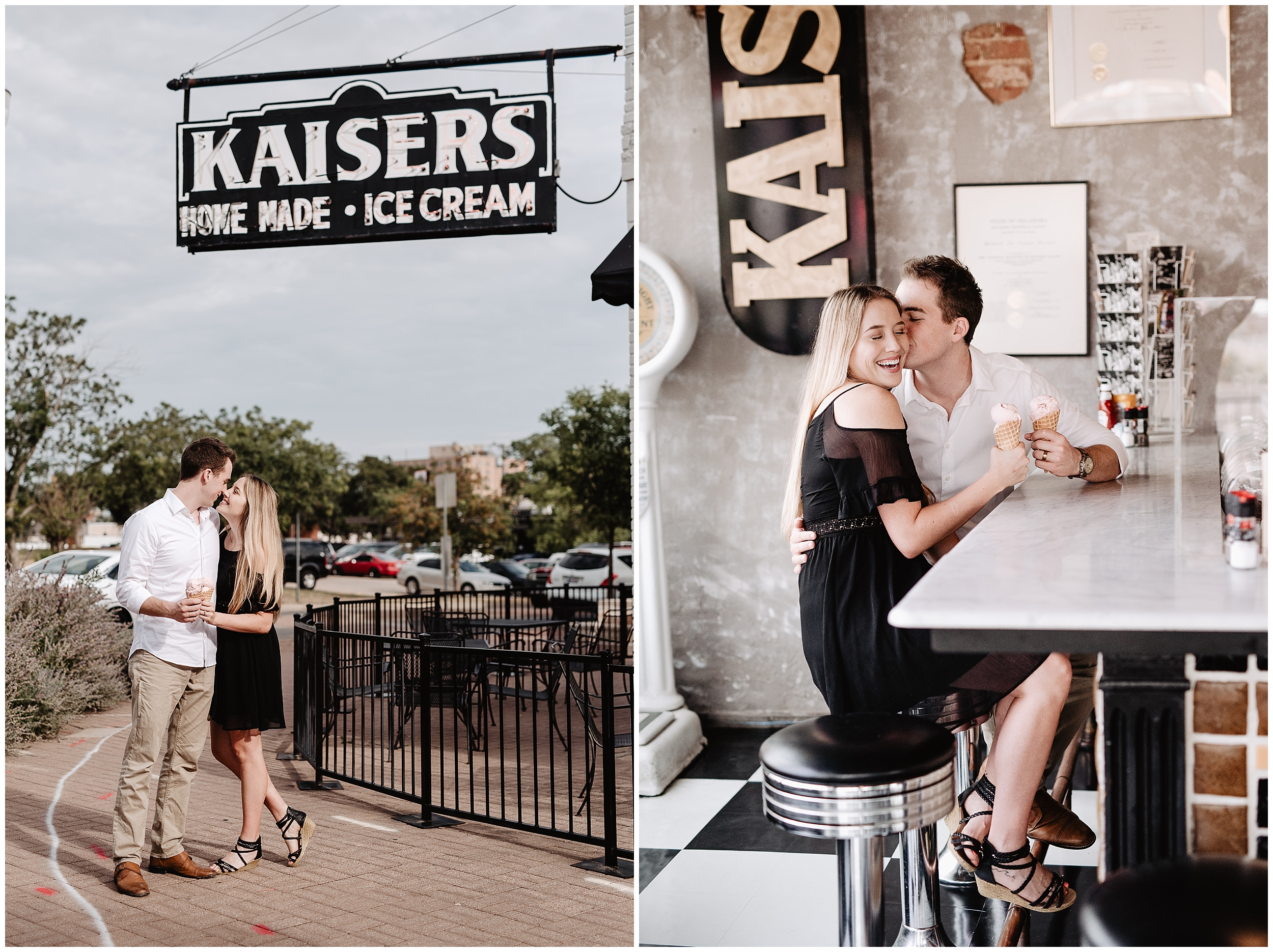 oklahoma wedding photographer date night engagement ice cream kaisers halls pizza kitchen fun shoot midtown okc  casual