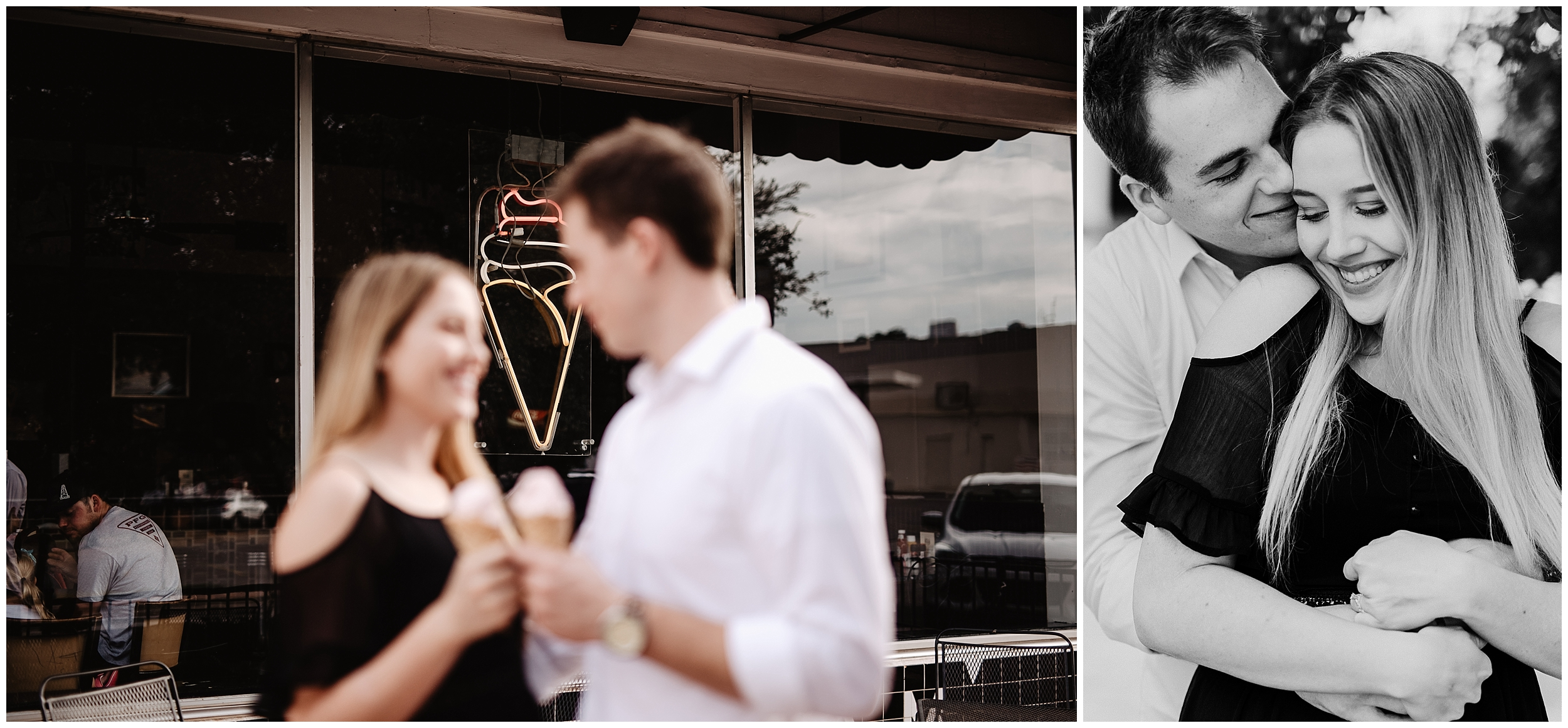 oklahoma wedding photographer date night engagement ice cream kaisers halls pizza kitchen fun shoot midtown okc  casual black white black&white