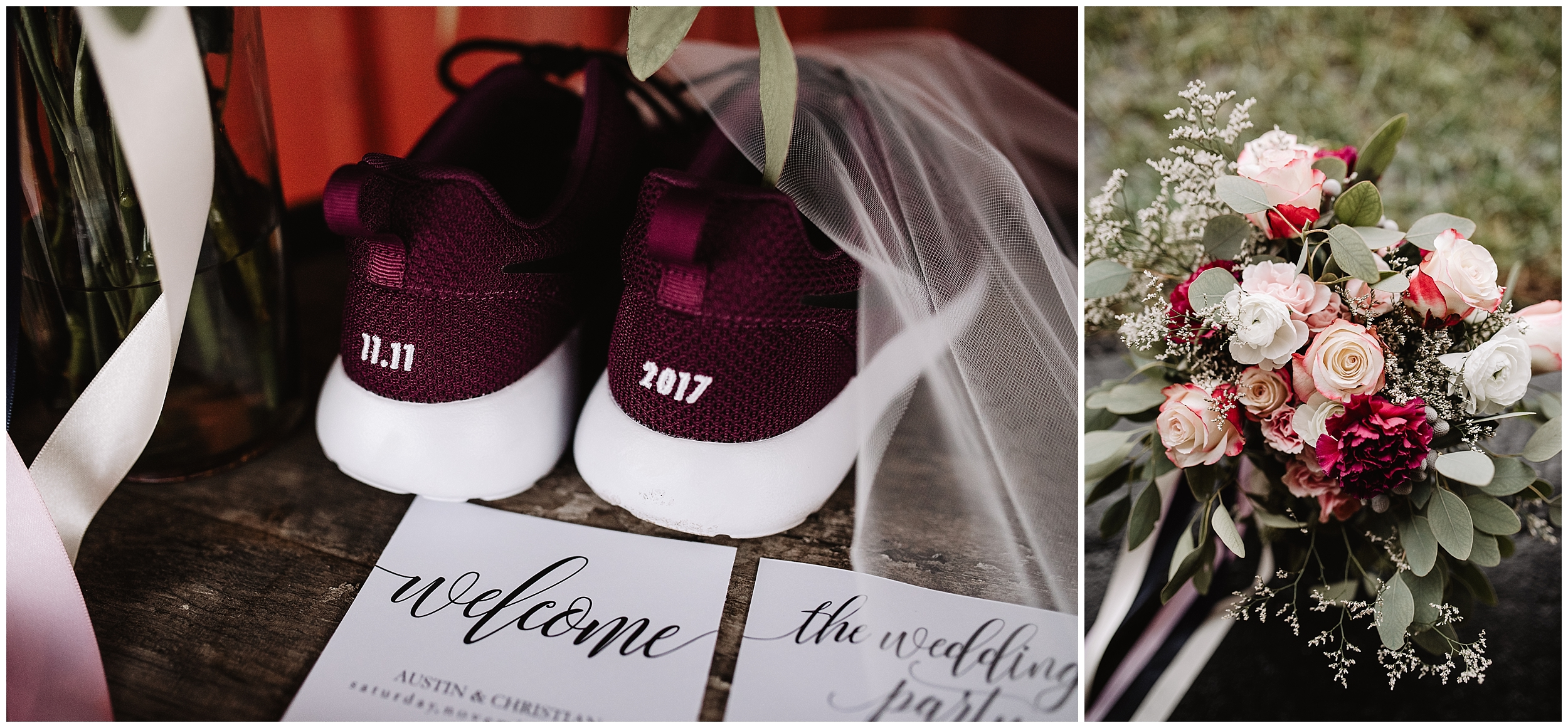 rustic timbers viola kansas oklahoma wedding photographer shoes tennis custom embroidery invitation stationary flowers bouquet bridal floral dark tumbalina studio
