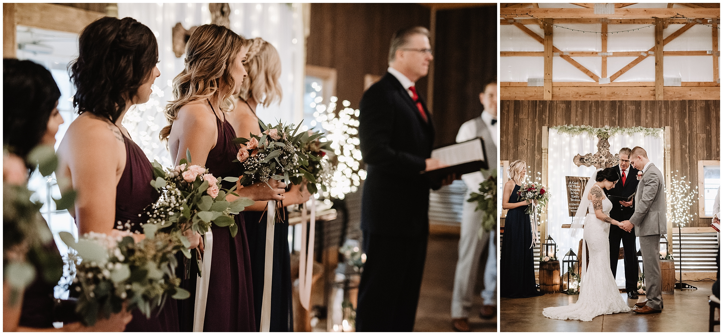 oklahoma wedding photographer ceremony marriage processional  viola kansas rustic timbers ceremony aisle bouquet