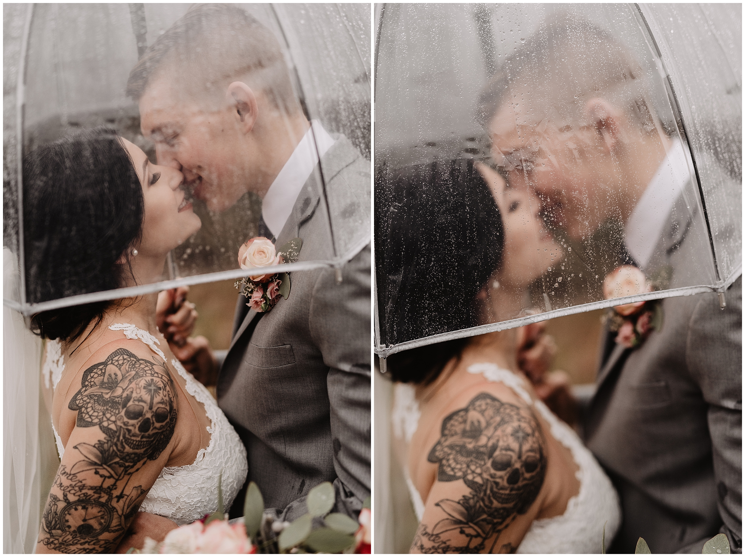 oklahoma wedding photography first look bride groom wedding day sweet rustic timbers outdoor viola kansas overcast rain umbrella clear