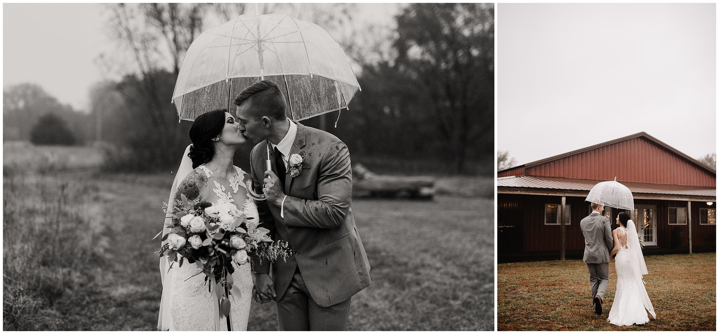 oklahoma wedding photography first look bride groom wedding day sweet rustic timbers outdoor viola kansas overcast rain umbrella clear black white black&white
