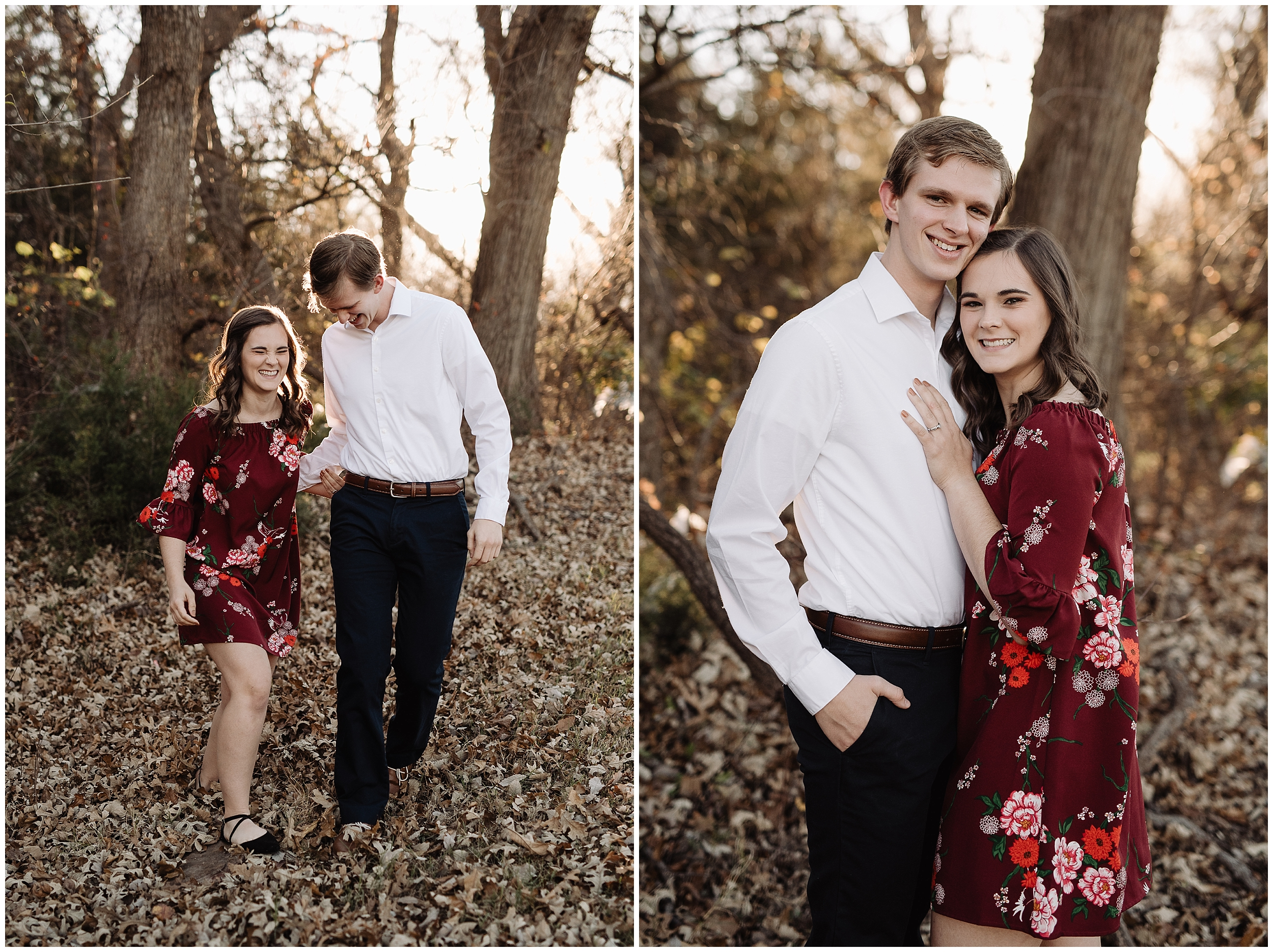 engagement photos session oklahoma wedding photographer outdoors fall edmond okc floral dress norman leaves
