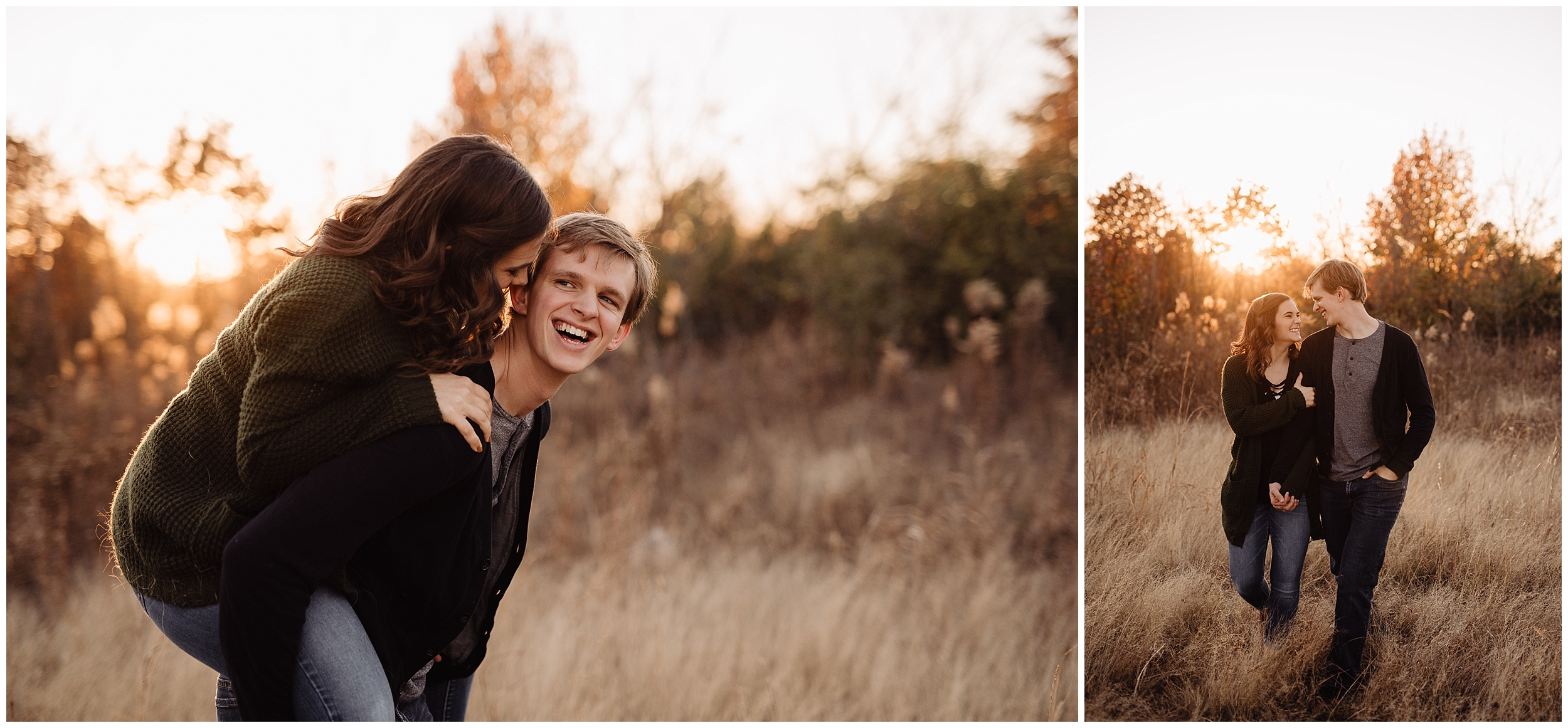 engagement photos session oklahoma wedding photographer outdoors fall edmond okc norman field sweater