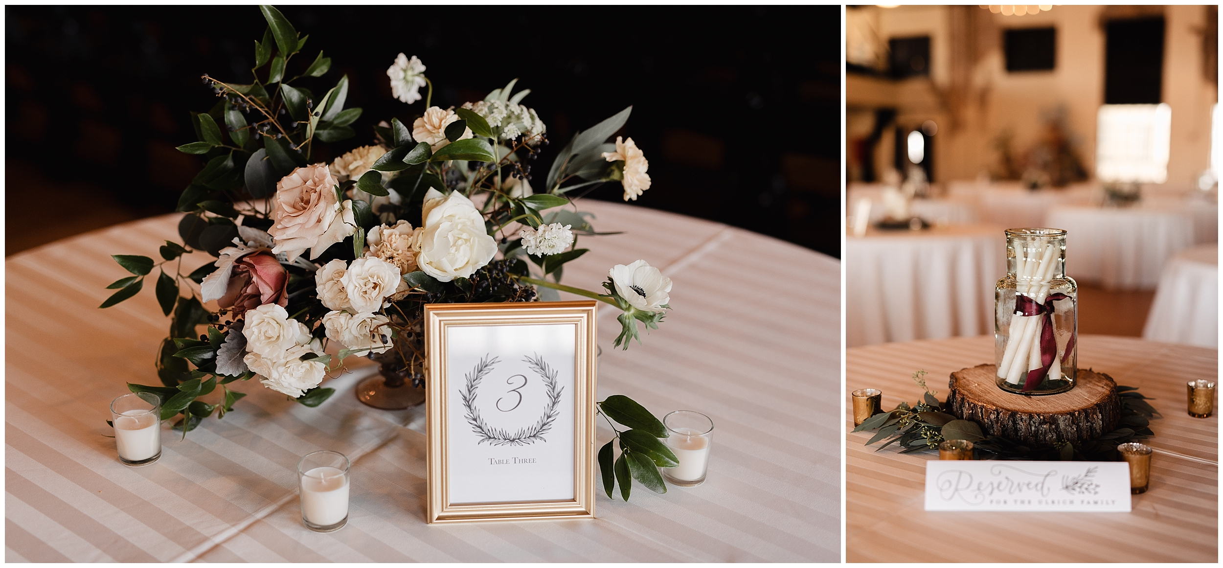 oklahoma wedding photographer florals flowers table decorations centerpieces table numbers