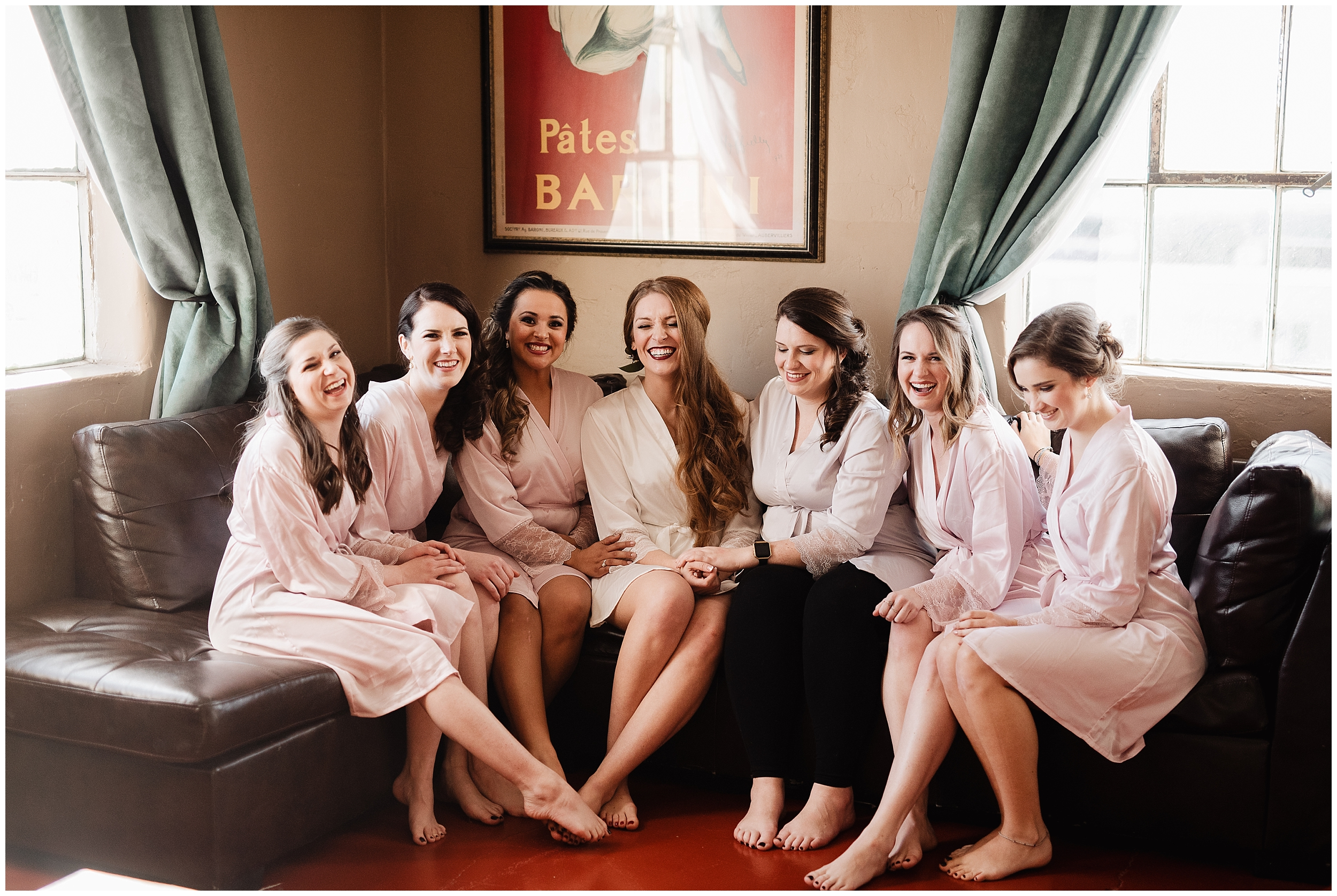 oklahoma wedding photographer hair makeup robes matching outfits bridal party getting ready bridesmaids maid of honor dressing buttons lace mother of bride