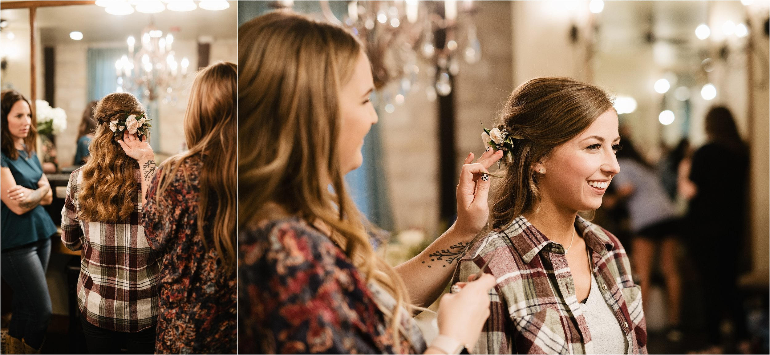 oklahoma wedding photographer hair makeup robes matching outfits bridal party getting ready bridesmaids maid of honor dressing hair floral