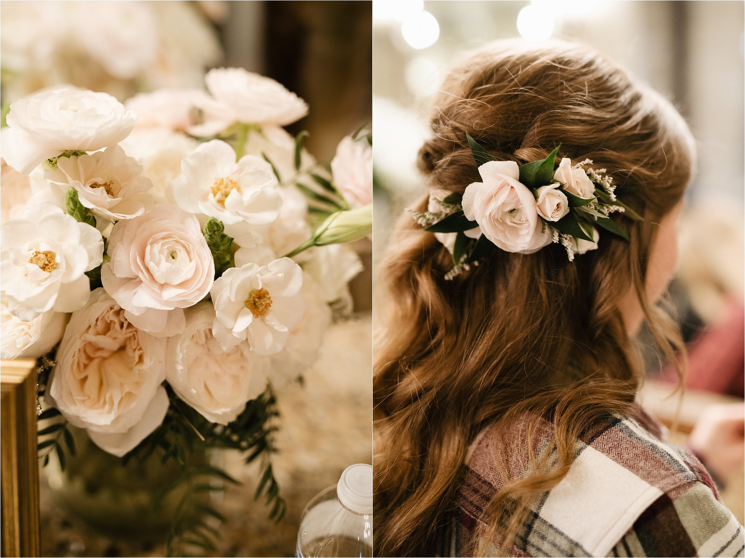 oklahoma wedding photographer hair makeup robes matching outfits bridal party getting ready bridesmaids maid of honor dressing hair bridal bouquet flowers florals