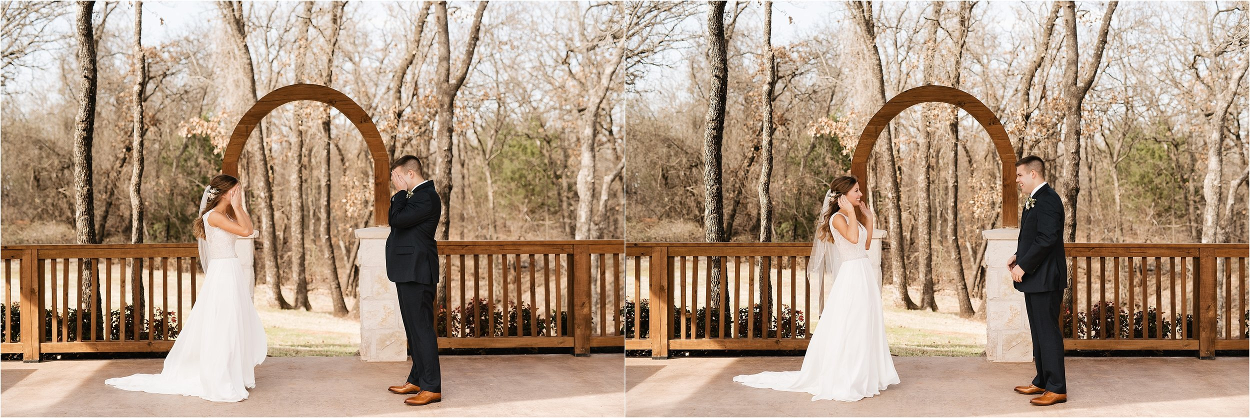 oklahoma wedding photography first look bride groom wedding day sweet the springs norman