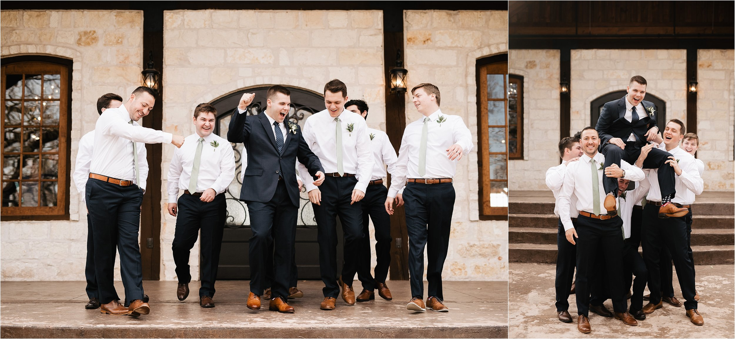 wedding portraits oklahoma wedding photographer outdoors wedding party bridesmaids groomsmen the springs norman