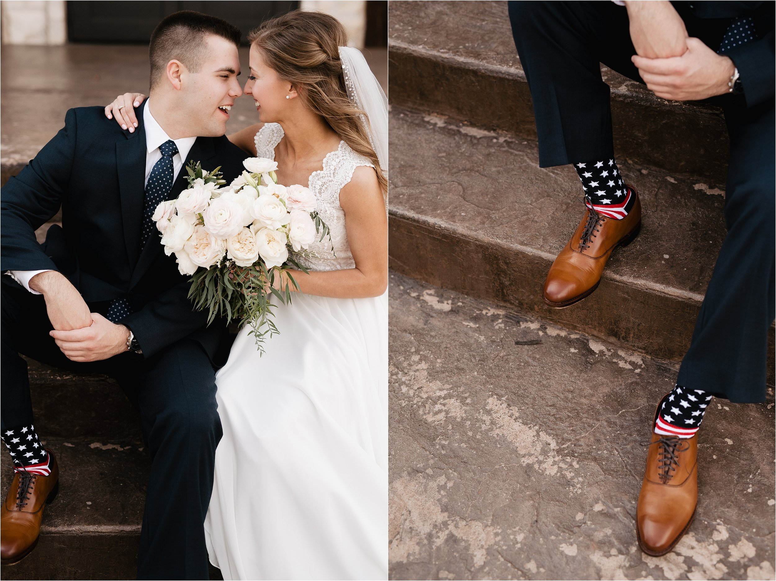 oklahoma wedding photography bride groom wedding day sweet bridal bouquet wedding flowers florals socks