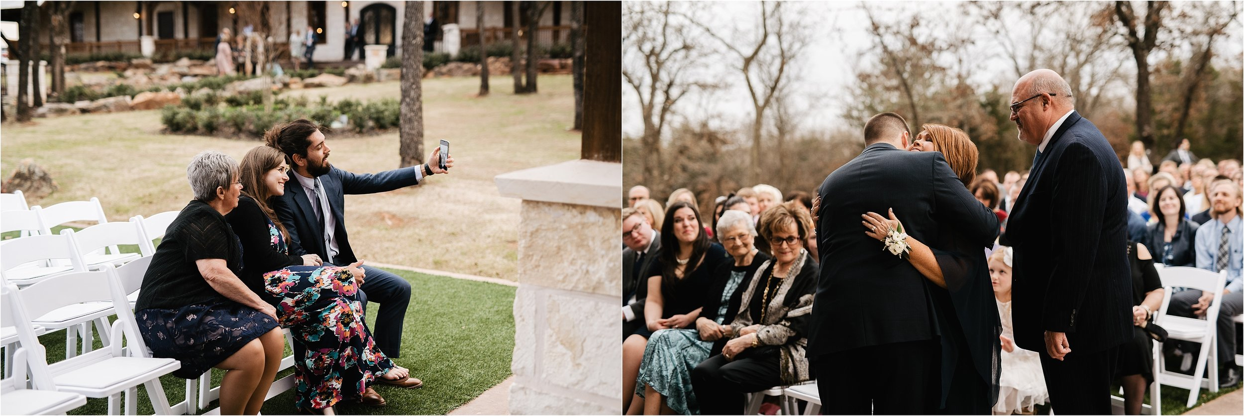 the springs norman oklahoma city wedding photographer outdoor ceremony reception wedding venue overcast family friends