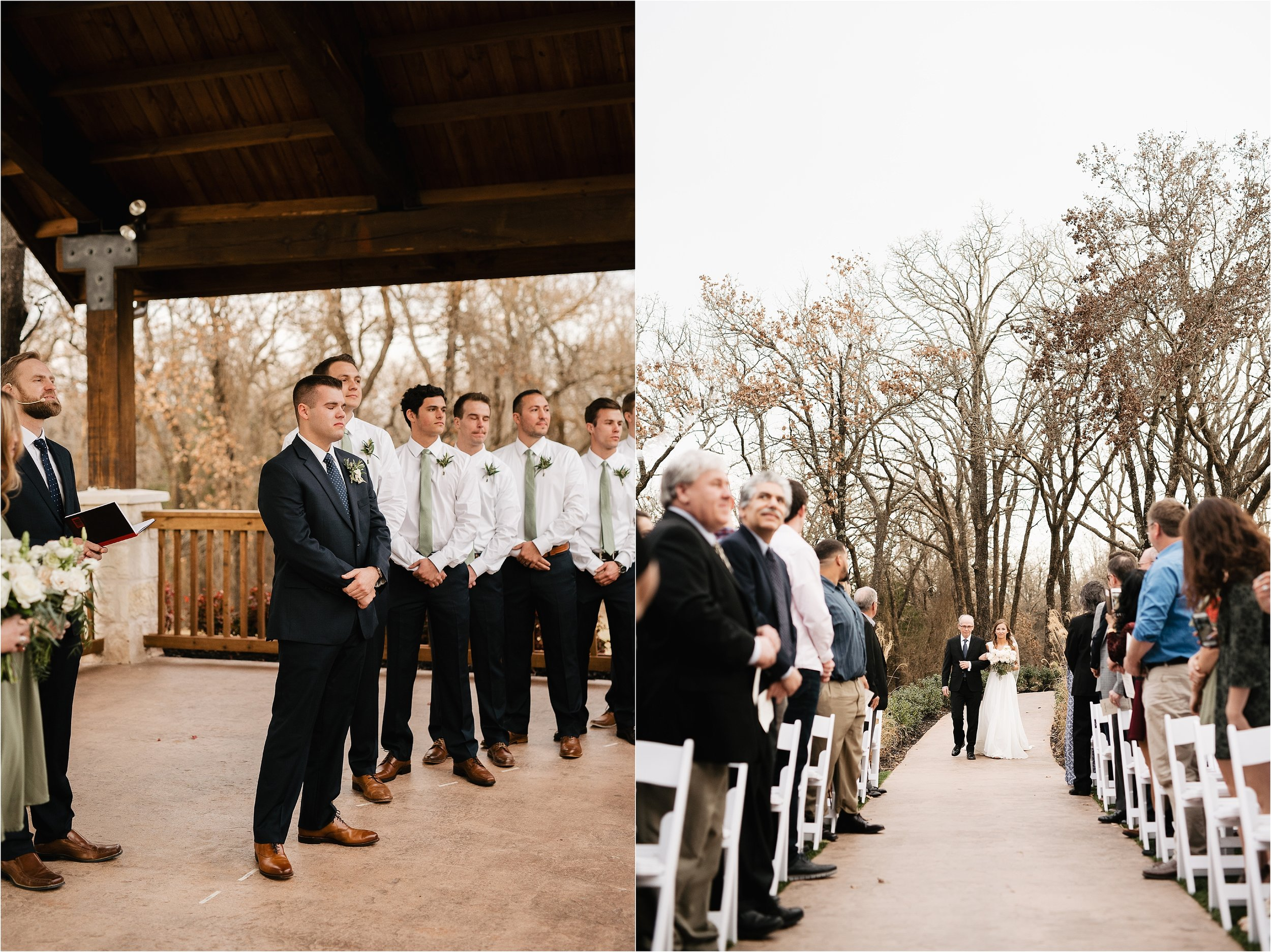 the springs norman oklahoma city wedding photographer outdoor ceremony reception wedding venue overcast family friends groomsmen groom