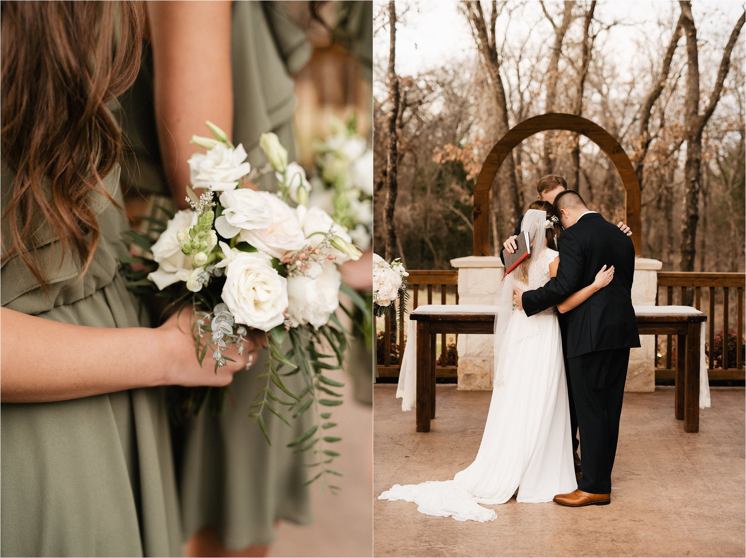 the springs norman oklahoma city wedding photographer outdoor ceremony reception wedding venue overcast family friends floral wedding bouquet arch