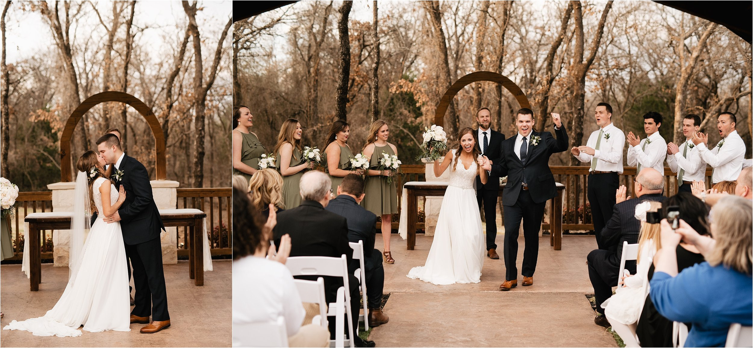 the springs norman oklahoma city wedding photographer outdoor ceremony reception wedding venue overcast family friends vows kiss the bride