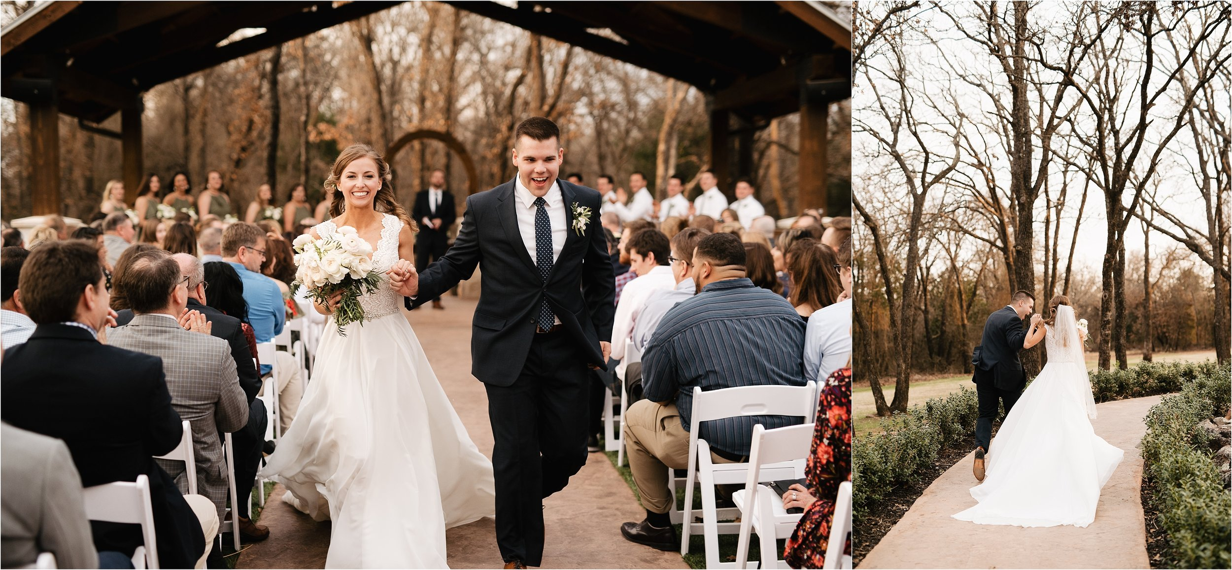 the springs norman oklahoma city wedding photographer outdoor ceremony reception wedding venue overcast family friends recessional