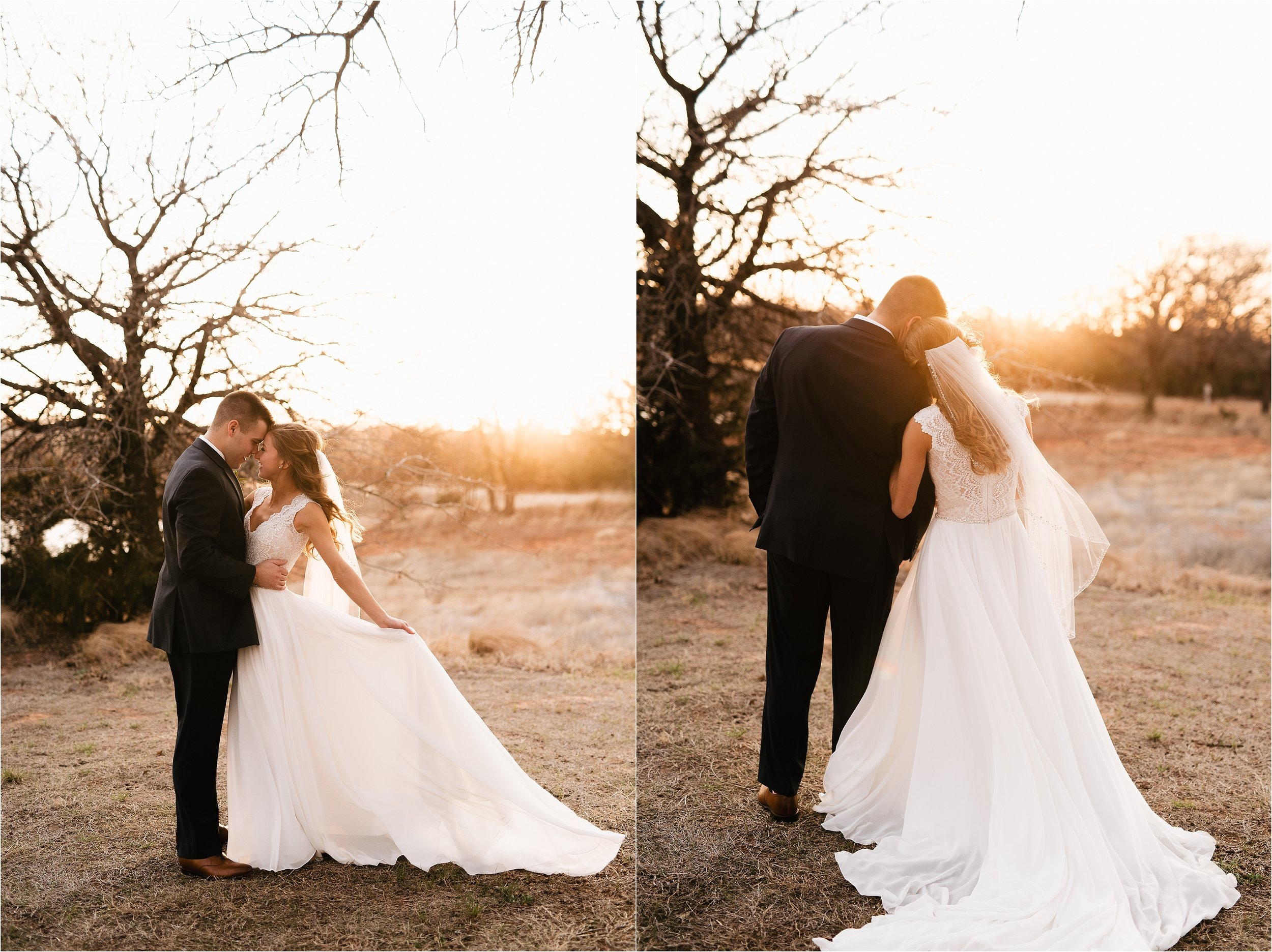 oklahoma wedding photographer groom bride veil sunset outdoors overcast portrait wedding the springs norman