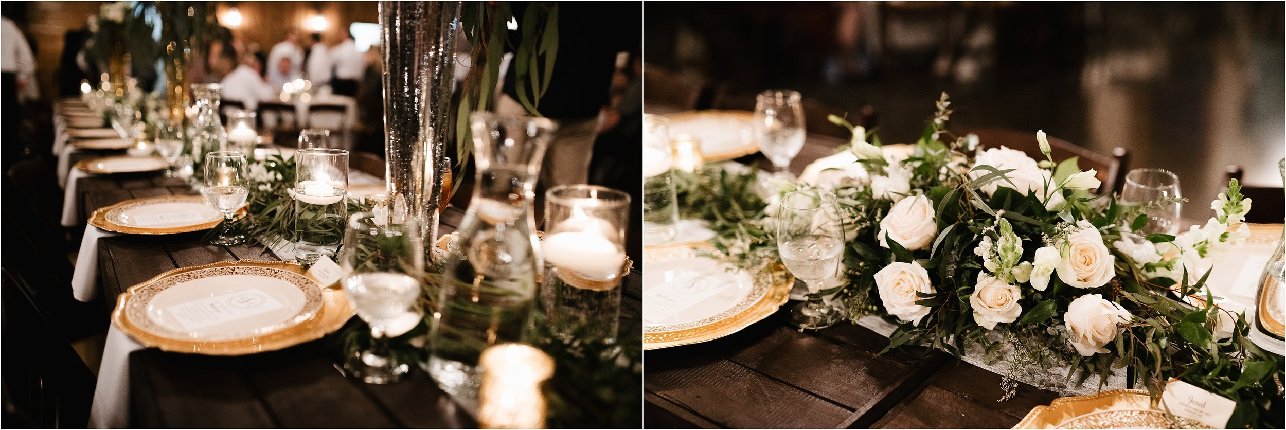 wedding photographer oklahoma reception the springs norman okc reception table settings decor decorations centerpieces florals flowers candles