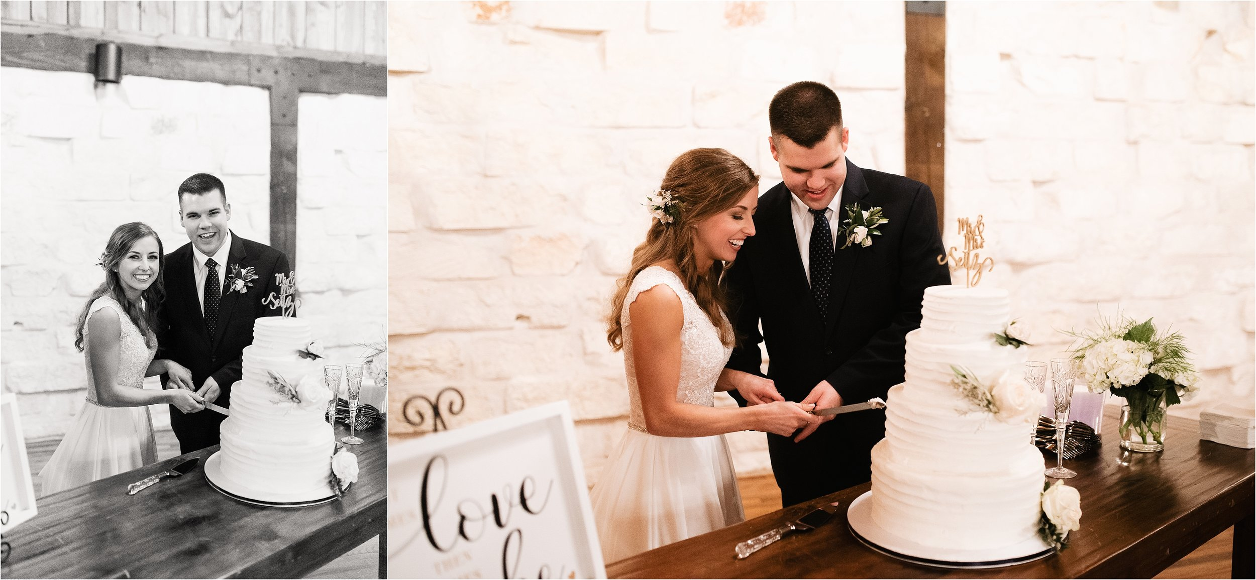 oklahoma wedding photographer reception family friends hugs congratulations best wishes toasts cake cut four tier smash