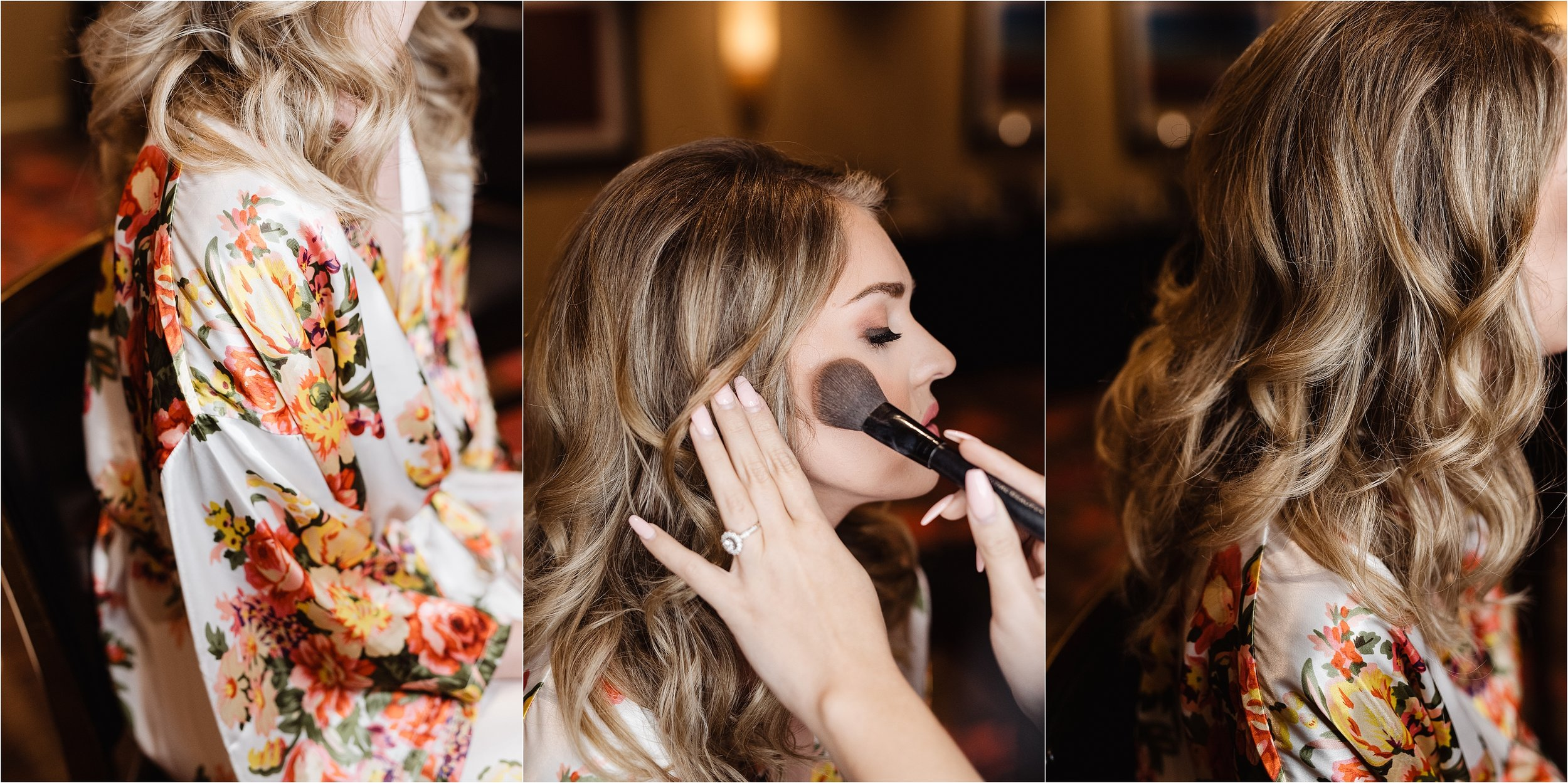 oklahoma wedding photographer hair makeup robes matching outfits bridal party getting ready bridesmaids maid of honor dressing buttons lace mother of bride hair curls